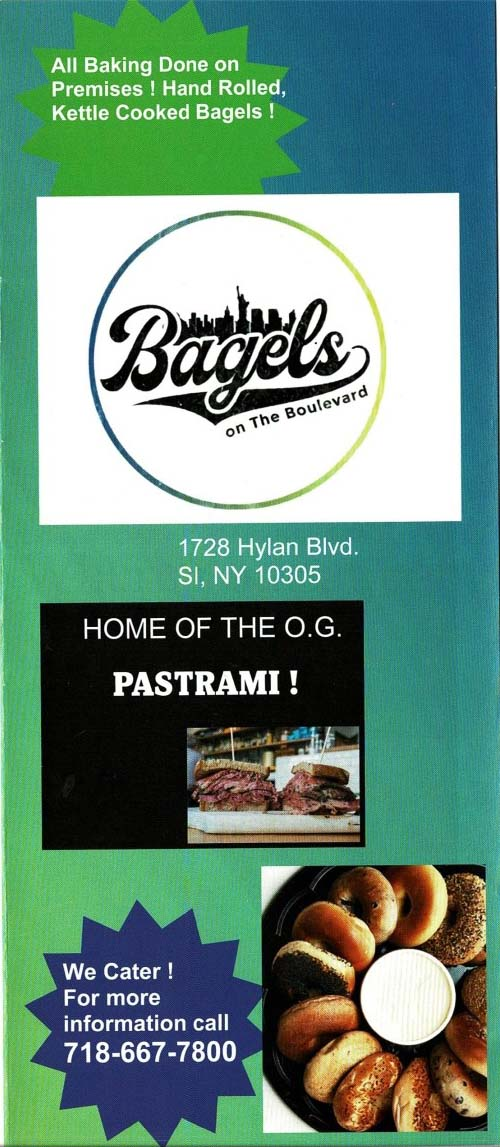 Bagels on The Boulevard Menu